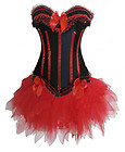 2016 Now available up to 8XL - Black Corset with Red Satin Trim and Red Black Bows