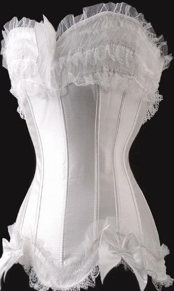 $25 Clearance Corset - All white light ivory stunning satin and lace corset (Xl - 3X left)