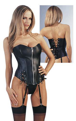 Sexy Zippered Black Leather Corset Sm-6X