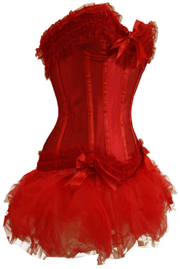 NEW Sm-6XL! Sexy Red Corset with TuTu Skirt - Color & Length Your Choice