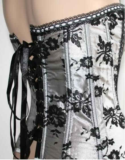 Hot Silver White Corset with Black Floral Lace and Black Tutu