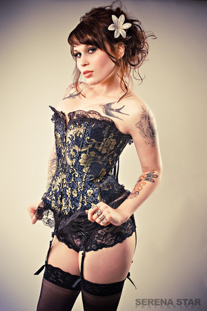 Vintage Inspired Royal Asian Corset - Blue Gold Corset