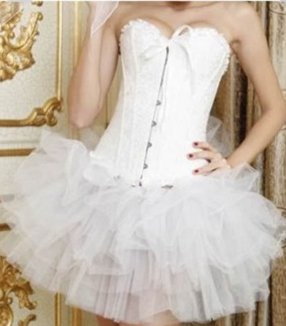 Sturdy white corset with stunning layered skirt - choose skirt length Sm-6XL White Black Red Corset Choices!