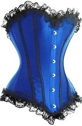 Sexy Blue Corset with Black Lace Trim