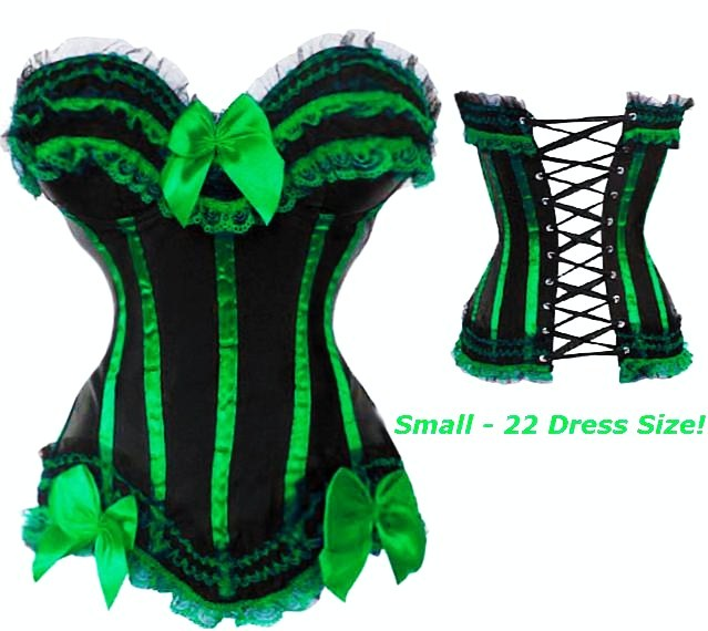 Green Corset - Green Black Corset With Green Trim S-6X (more colors!)