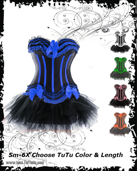 217 2-26 dress size waist trimming bust enhancing corset with or without skirt in many colors!