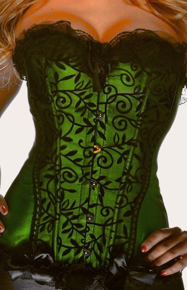 Green velvet and lace corset, Poison Ivy corset, a stunning green corset basque