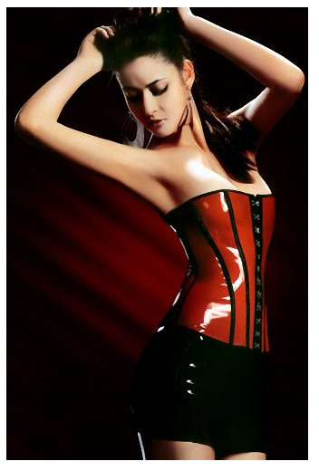 pvc black red corset leather plus size leather corset set