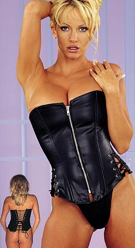 Black Leather Lace Up Corset with Zipper