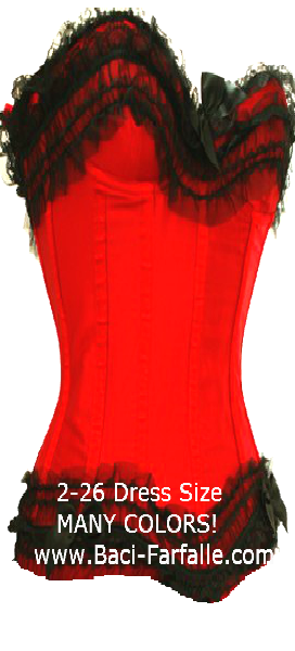 A rich scarlett red corset with black lace also a plus size corset - more corset colors!