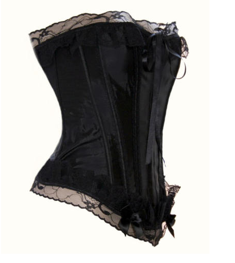 Absolutely Gorgeous Black Satin and Lace Trimmed Sweetheart Corset S-9X