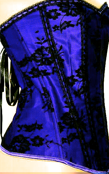 Sexy Black Lace over Purple Corset S-6X More Colors!