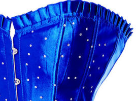 Cobalt Blue Long Line Corset with Rhinestones