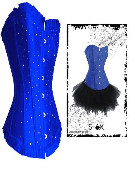 Long Line Sturdy Steel Busk Cobalt Blue Corset with Diamantes S-6X