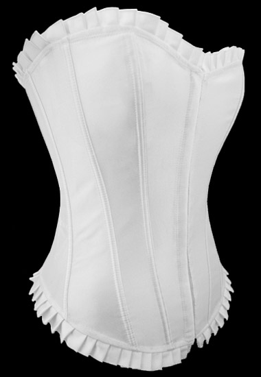 Stunning Solid White Satin Corset with Ruffled Trim S-6XL