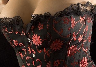 Elegant Black and Red Floral Lace Up Corset (silver also available) S-6X