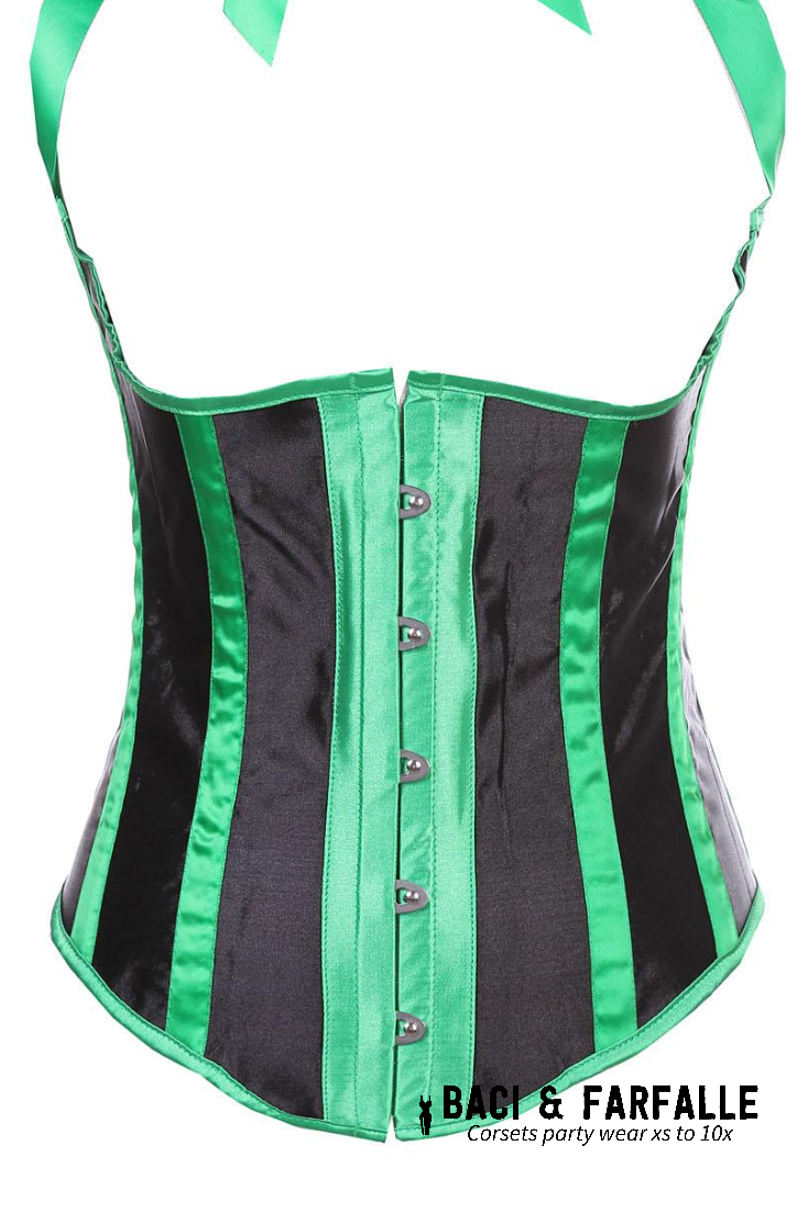 Green with Black Satin Underbust Corset with Green Satin Ties