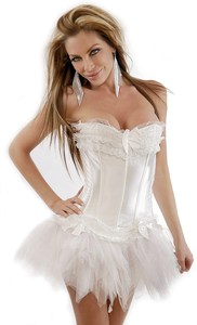 White Satin Corset with Tutu Skirt S-6X (Many Colors)