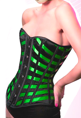 2017 Daring green and black corset - sturdy and curve inspiring