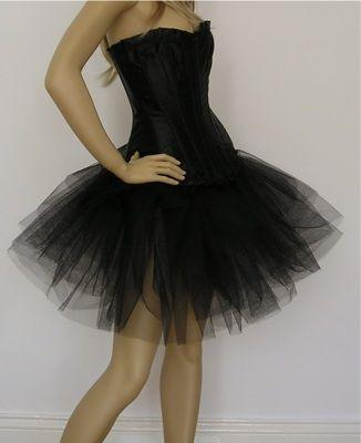 S-8XXL - Sturdy Satin Black Corset With Black TuTu Skirt - Choose Skirt Lenght