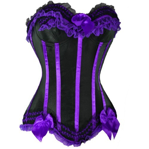2013 Black Corset with Purple Satin Trim Bows & Lace - S-8X - More Colors!