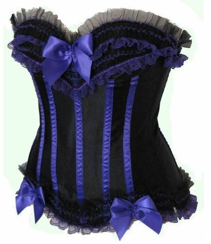 Purple and Black Lace & Bows Satin Black Light Club Corset - Rave Corset - Sexy Lift - S-8X - More Colors!