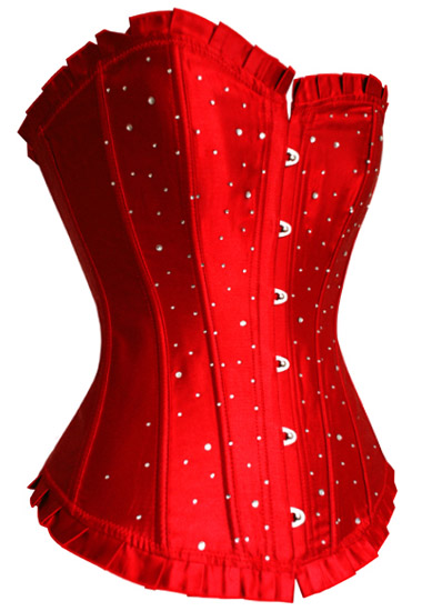 Sexy Red Satin Long Line Corset with Rhinestones