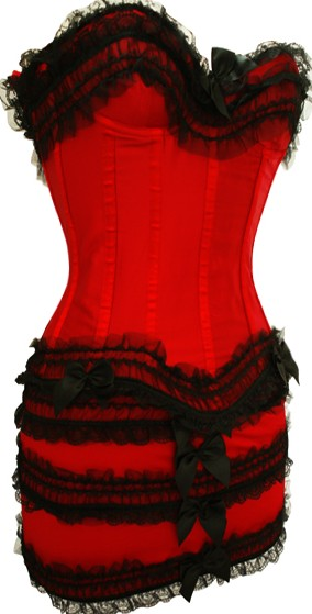 Stunning Satin & Lace Corset Dress S-6XL Red Black