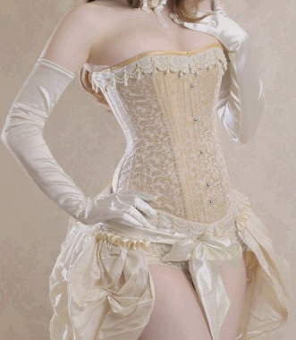 Extremely Sturdy Classic Creme Corset with Victorian Ruffle Trim