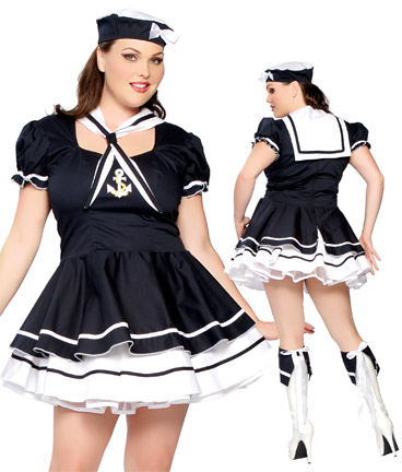 Plus Size Flirty and sexy sailor costume to catch any sailors eyes XL-3XL