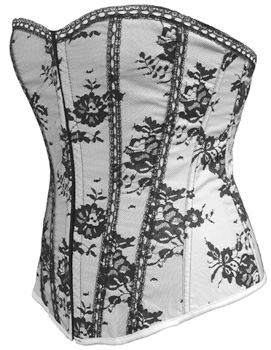 Black Lace Corset Over White Satin (more colors S-6X)