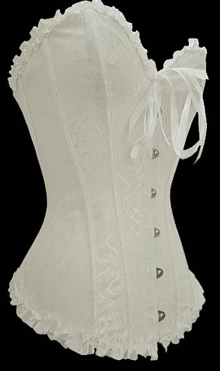 Sturdy White Corset - Damask Satin Longer Line S-9XL Corset - More Colors!