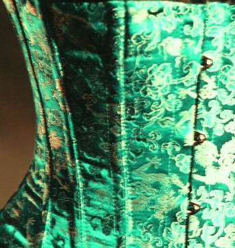 2015 Emerald green with gold dragon corset design Sm-6XL