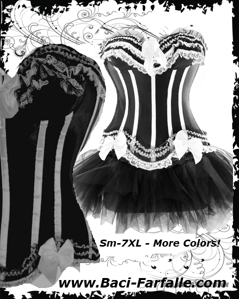 NEW 2013 - Size 2 - 26 Dress Size Black Corset with White Lace & Satin Bows