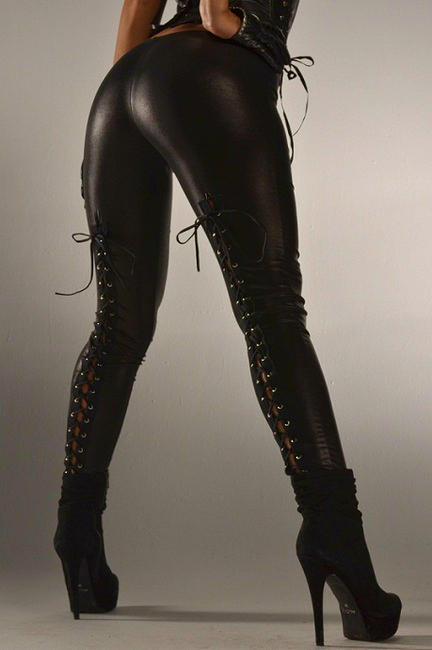 Amazing wet leather corset back leggings in Small to XL