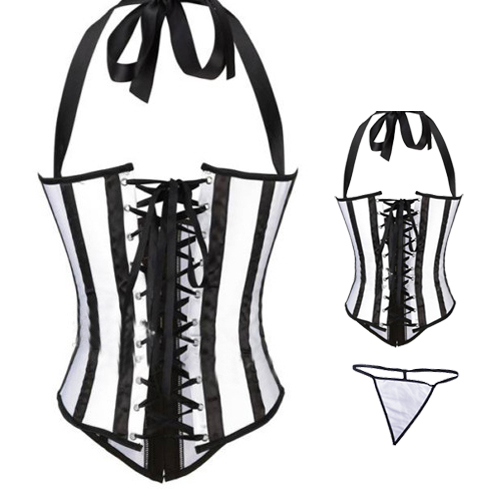 Under Bust corset, black and white, striped steel corset