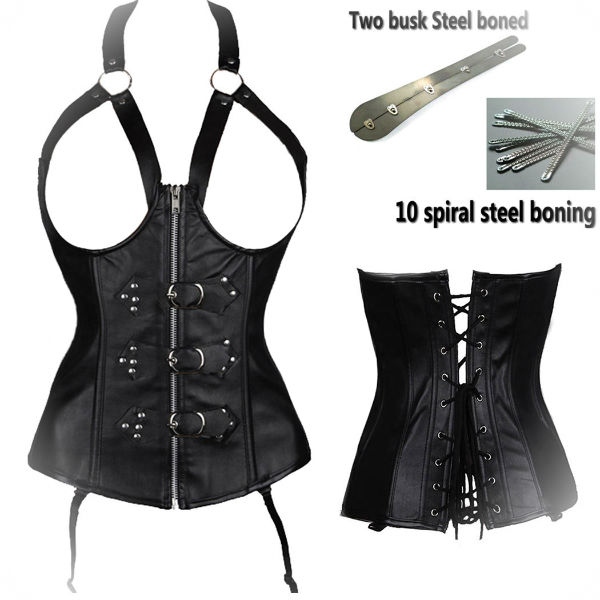 2017 Open cup leather and plus size leather naughty corset